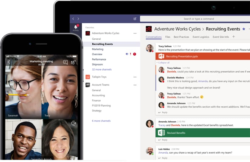 Screenshot from Microsoft Teams - conference call & conversations tab