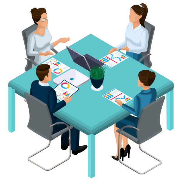 Content meeting with four people around a table