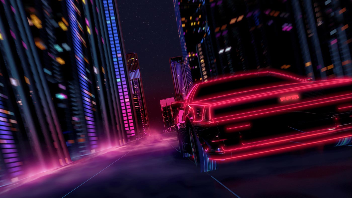 Delorean driving through a futuristic city