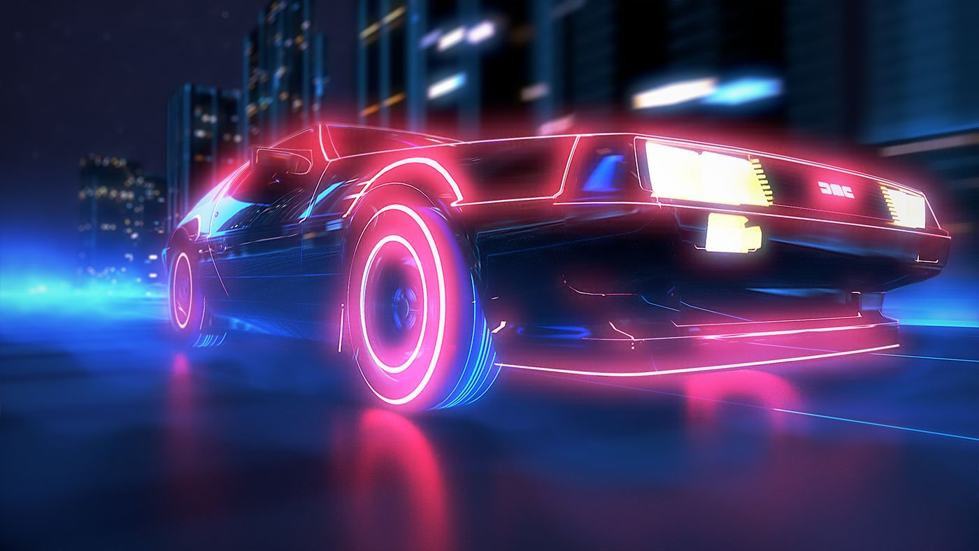 Delorean driving through a futuristic cityscape with glowing wheels