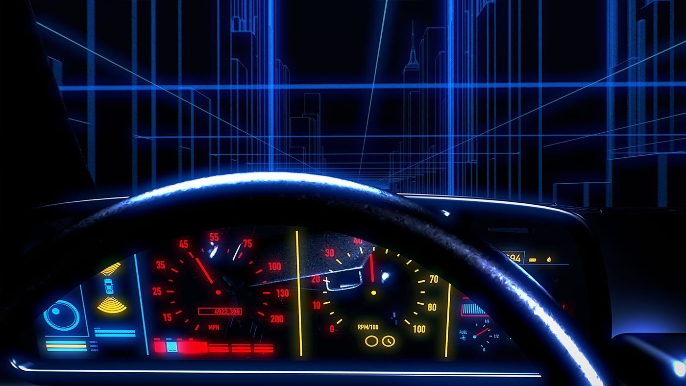 Retro-style vehicle dashboard driving through a tron-like cityscape