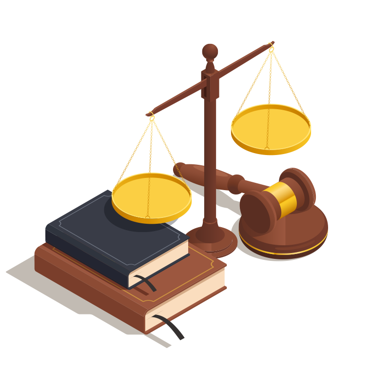 Law books, scales and a gavel