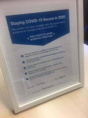 White frame including copy of Wellingtone's Covid-19 risk assessment