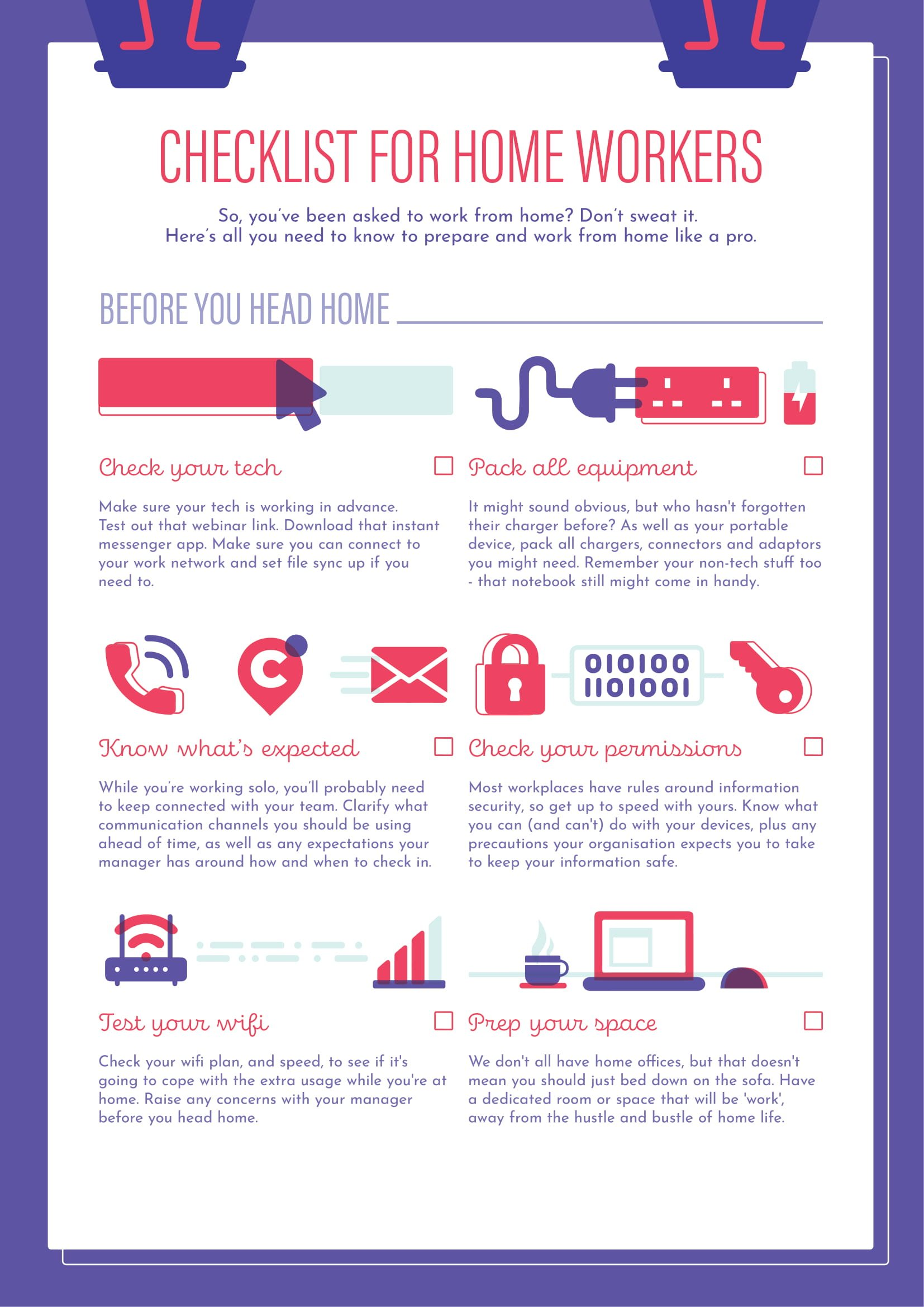 Checklist for Home Workers Info graphic