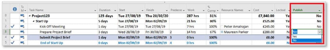Screenshot of removing completed tasks from timesheets