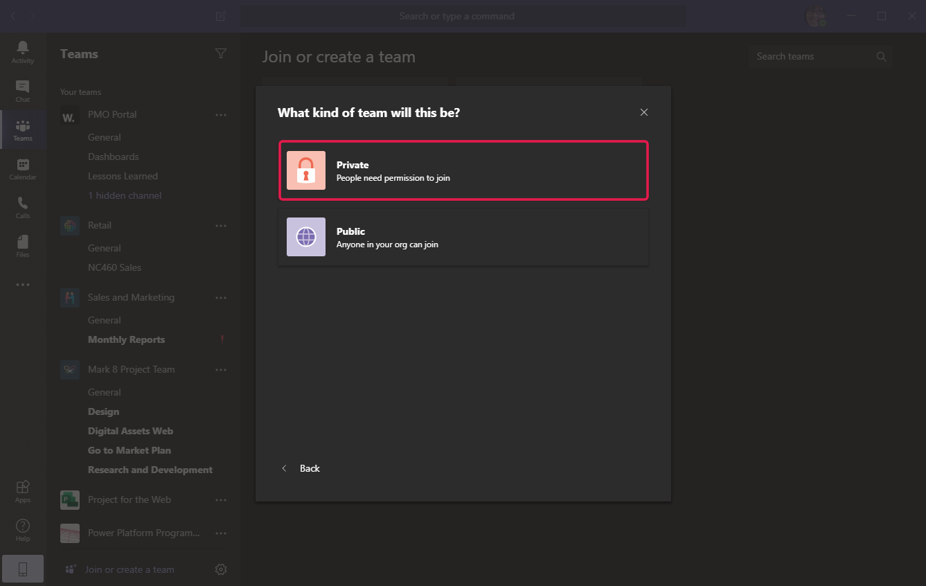 Screenshot from Microsoft Teams to choose the type of team