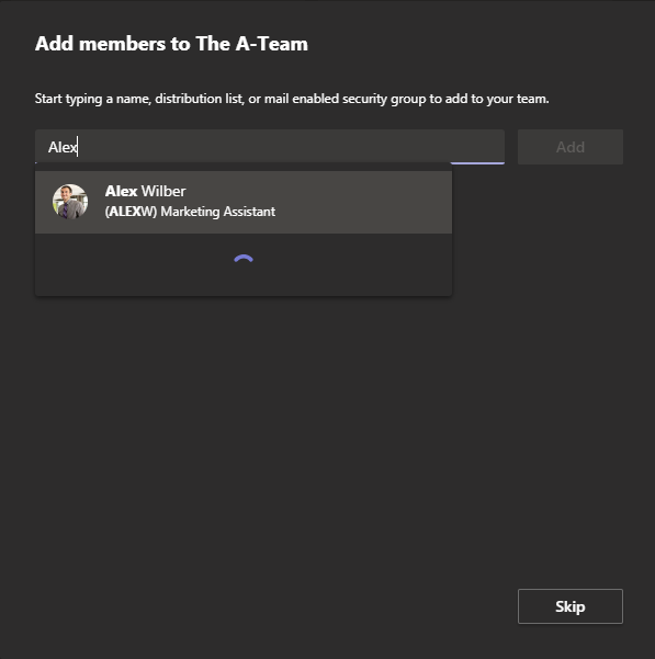 Screenshot to add members into your team in Microsoft Teams