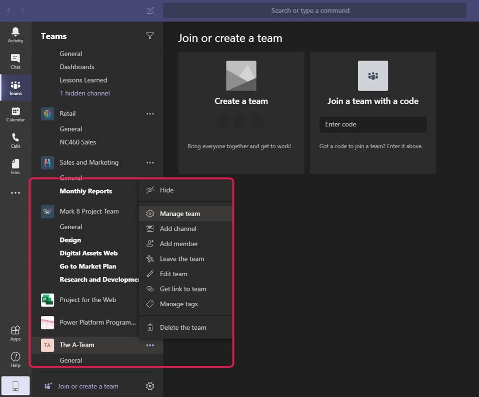 Screenshot of options available for team in Microsoft Teams
