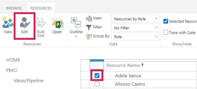 Screenshot of 'Resource Calendar' within Resource Centre in Project Online