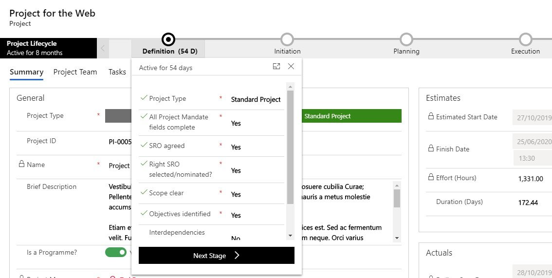 Project Lifecycle in Project for the Web