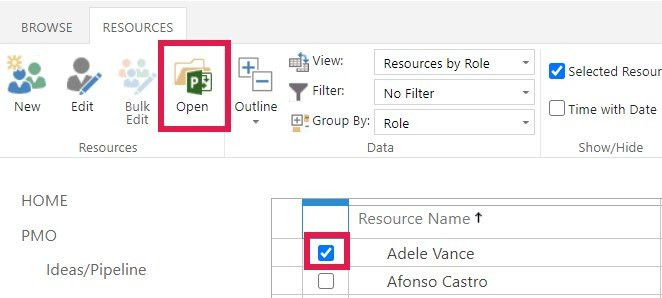 Screenshot of adding planned leave to the calendar of any resource in Project Online