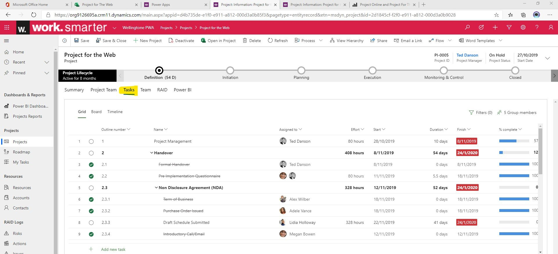 Tasks in Project for the Web PWA