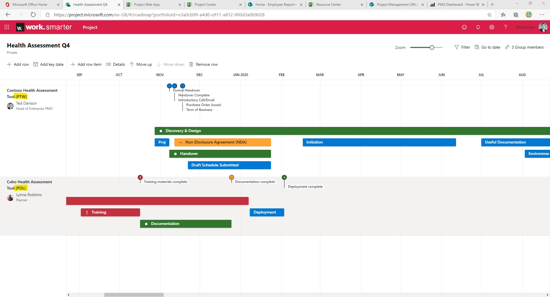 a combined roadmap view showing plans from Project for The Web and Project Online